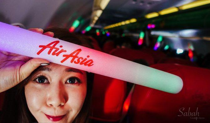 第一次搭AirAsia亞洲航空飛馬來西亞沙巴。全球唯一LINE彩繪機